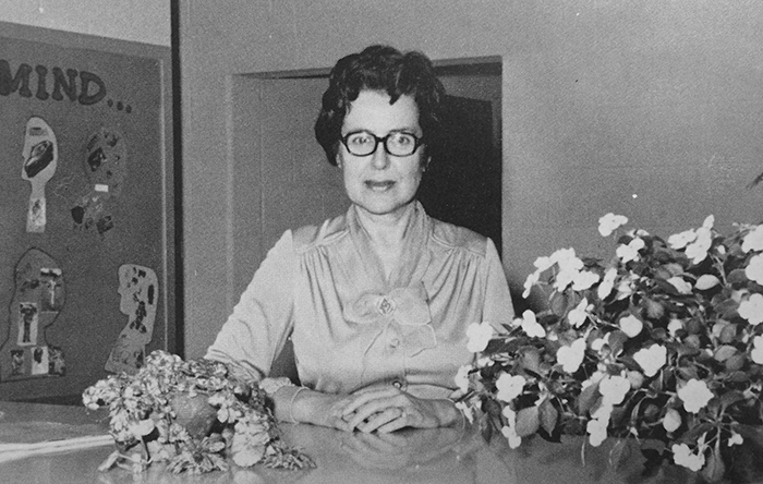 Black and white photograph of Kings Glen Elementary School's first principal, Mary Musick, circa 1978