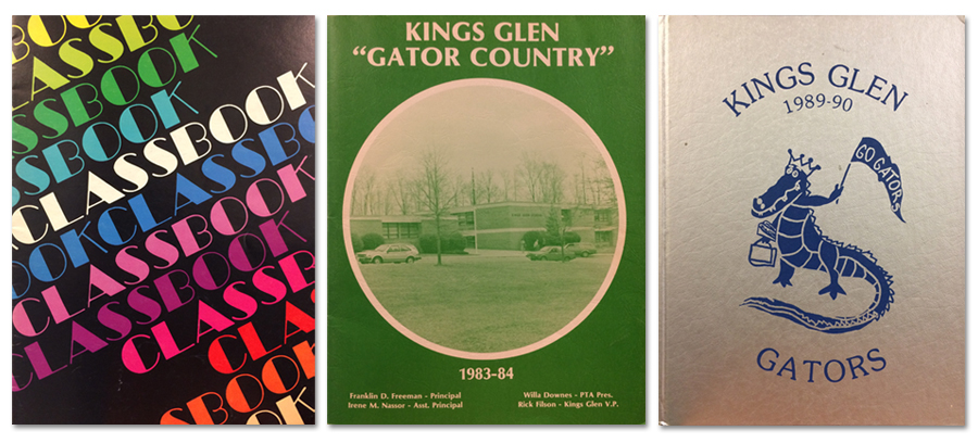 Kings Glen yearbook covers from 1978, 1984, and 1990. All are very different in style. 1978 is black with alternating colored text that says classbook. 1984 is a green cover with a black and white photograph of the school and the heading Gator Country. 1990 is a silver cover with a blue cartoon alligator holding up a Go Gators pennant.