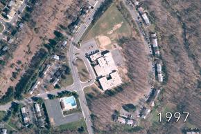 Aerial view of Kings Glen Elementary School in 1997. No changes to the exterior of the building from 1972.