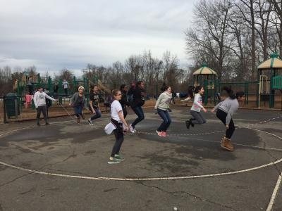 photo of students on asphalt playground