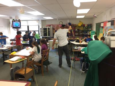 Photo of classroom maze created with string
